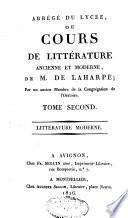 Abrégé du lycée ou cours de littérature ancienne et moderne