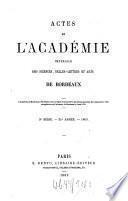 Actes de l'Academie Nationale des Sciences, Belles-Lettres et Arts de Bordeaux