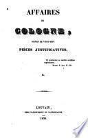 Affaires de Cologne, suivies de vingt-sept pièces justificatives