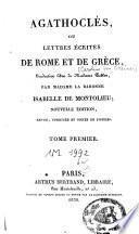 Agathoclès ou lettres écrites de Rome et de Grèce