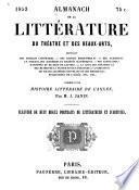 Almanach de la littérature du théatre et des beaux-arts