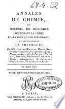 Annales de chimie ou Recueil de mémoires concernant la chimie et les arts qui en dépendent