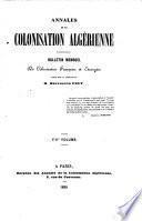 Annales de la colonisation Algérienne