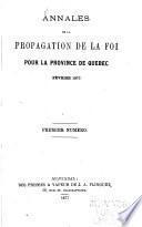 Annales de la propagation de la foi pour les provinces de Québec et de Montréal