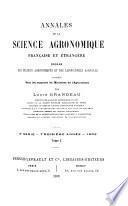 Annales de la science agronomique française et étrangère