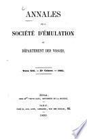 Annales de la Société d'Emulation du Département des Vosges