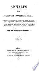 Annales des sciences d'observation ...