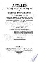Annales politiques et diplomatiques, ou Manuel du publiciste et de l'homme d'ètat ... Par M. Isambert ... Tome 1.er [- quatrième]