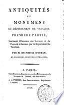Antiquités et monumens du département de Vaucluse