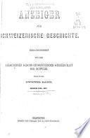 Anzeiger für Schweizerische geschichte