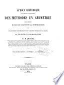 Aperçu historique sur l'origine et le développement des méthodes en géométrie