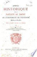 Aperçu historique sur la Faculté de droit de l'Université de Toulouse