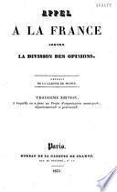 Appel à la France contre la division des opinions