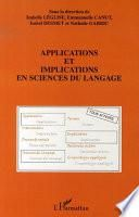 Applications et implications en sciences du langage