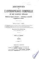 Archives d'anthropologie criminelle et des sciences pénales