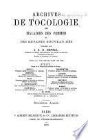 Archives de gynécologie et de tocologie