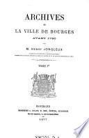 Archives de la Ville de Bourges Avant 1790