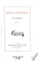Archives historiques du Poitou