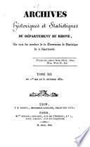 Archives Historiques et Statistiques