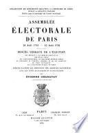 Assemblée électorale de Paris ...