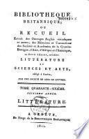 Bibliothèque britannique. Littérature