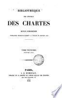BIBLIOTHEQUE DE L'ECOLE DES CAHRTES