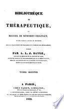 Bibliothèque de thérapeutique