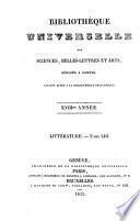 Bibliothèque universelle des sciences, belles-lettres et arts