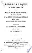 Bibliothèque universelle des sciences, belles-lettres, et arts