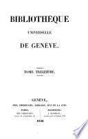 BIBLOTHEQUE UNIVERSELLE DE GENEVE