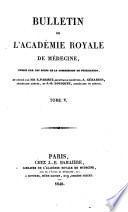 BULLETIN DE L'ACADEMIE ROYALE DE MEDECINE