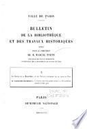 Bulletin de la bibliothèque et des trauvaux historiques