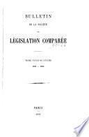 Bulletin de la Société de législation comparée