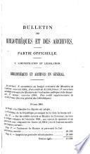 Bulletin des bibliotheques et des archives