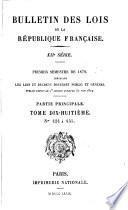 Bulletin des lois de la République franc̜aise