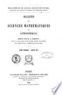 Bulletin des sciences mathématiques et astronomiques Bibliothèque de l'École des Hautes Études