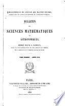 Bulletin des sciences mathématiques et astronomiques