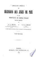 Bulletin spécial des décisions des juges de paix et des tribunaux de simple police