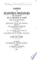 Cahiers de plaintes & doléances des paroisses de la province du Maine pour les États généraux de 1789