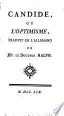 Candide, ou l'optimisme, Traduit de l'allemand