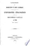 Catalogue des dissertations et écrits académiques