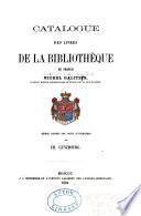 Catalogue des livres de la bibliothèque du prince Michel Galitzin