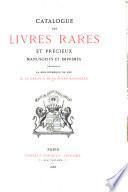 Catalogue des livres rares et précieux ...
