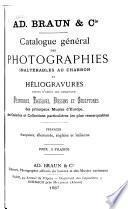 Catalogue général des photographies inaltérable au charbon et héliogravures