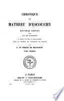 Chronique de Mathieu d'Escouchy: 1444-1452