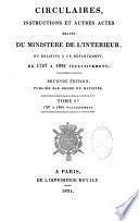 Circulaires insructions et autres actes émanés du Ministre de l'Intérieur de 1797 à 1830