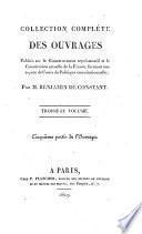 Collection complète des ouvrages publiés sur le gouvernement représentatif et la constitution actuelle de la France