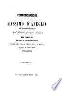 Commemorazione di Massimo d'Azeglio. Discorso, etc