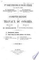 Compte-rendu des travaux du Congrès