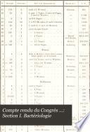 Compte rendu du Congrès ...: Section I. Bactériologie